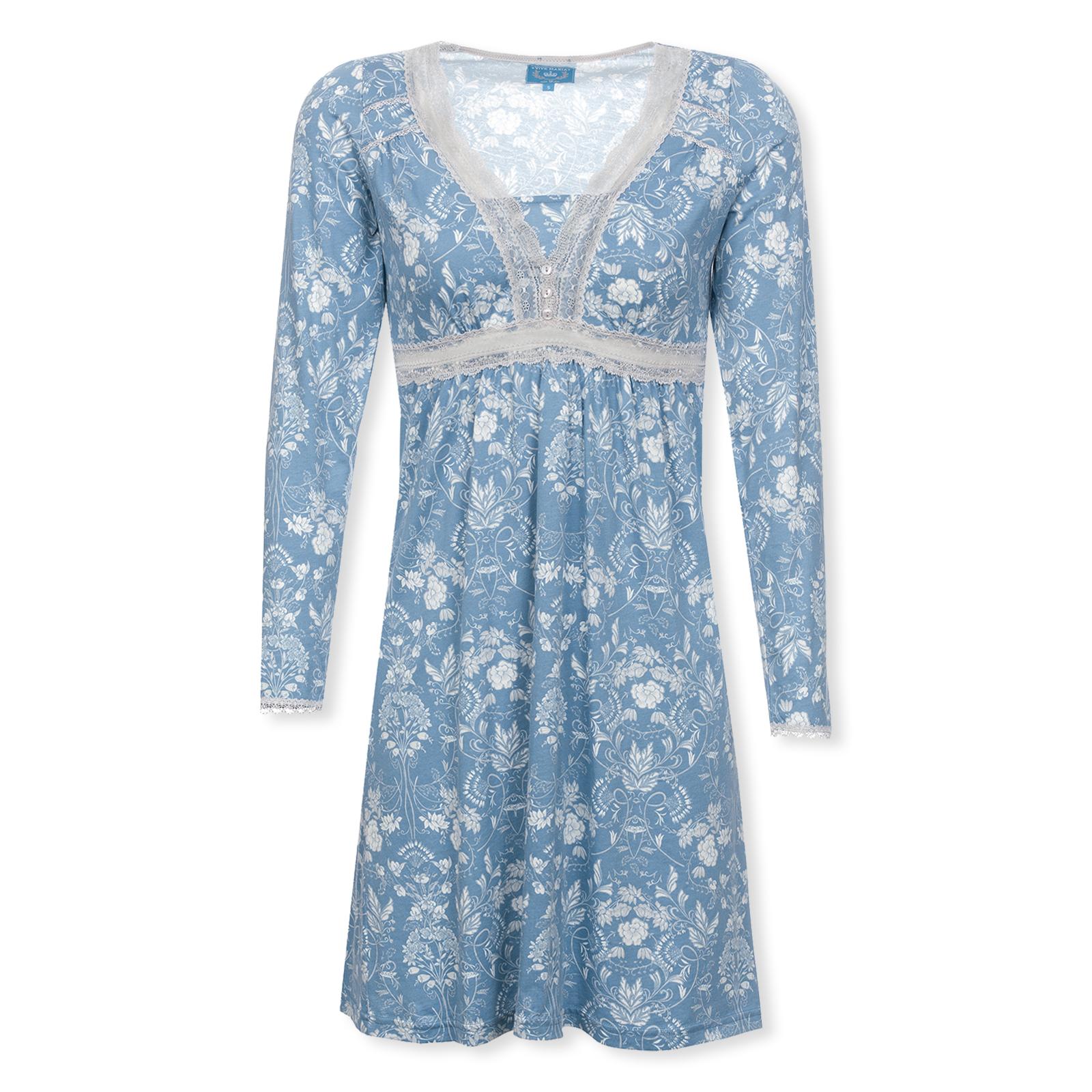 VIVE MARIA Nachthemd Sleepshirt langarm Blue Barock S M L XL in blue allover