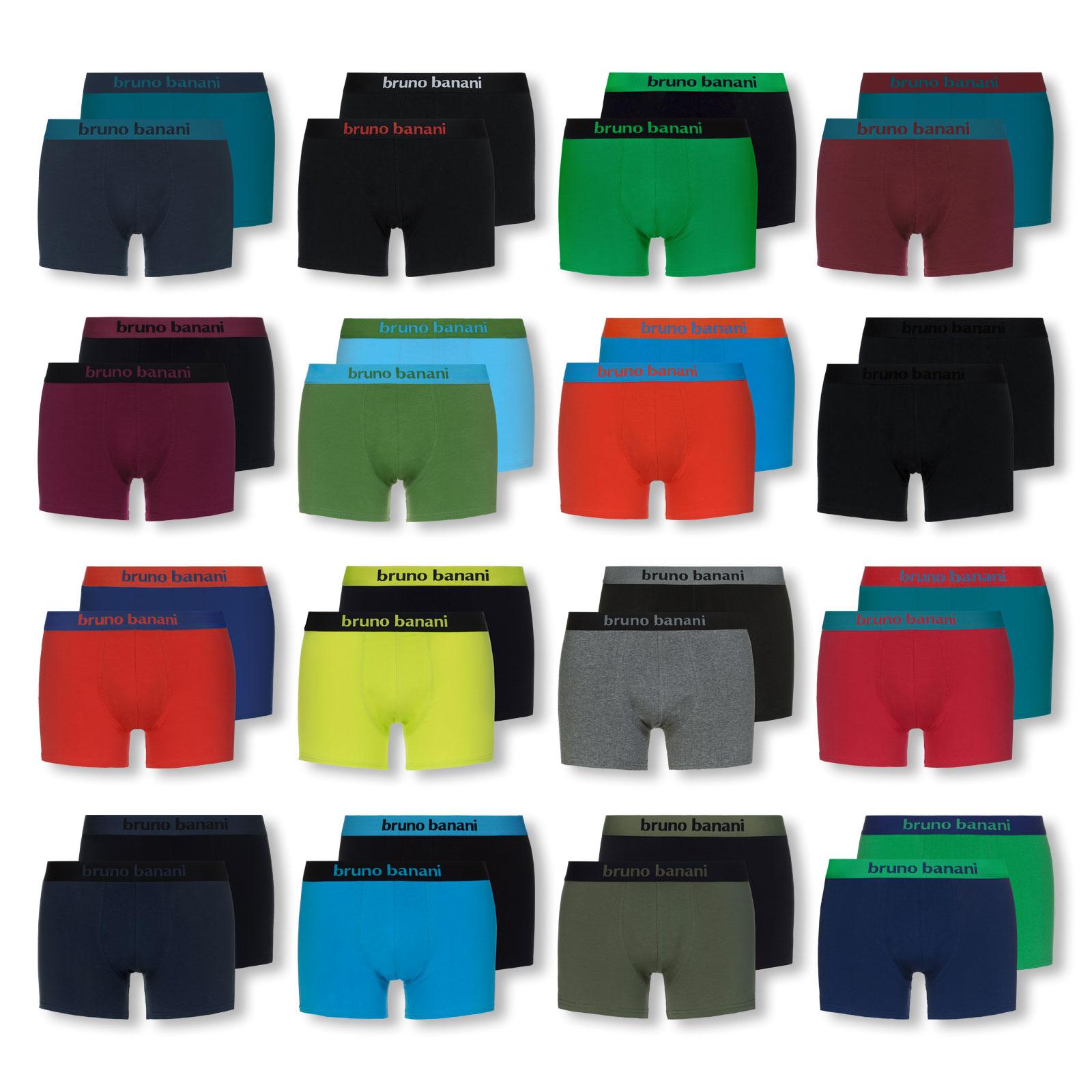 2er 4er 6er Pack bruno banani Boxershorts Shorts Unterhosen Flowing 2201-1388 in blaugrau / schwarz