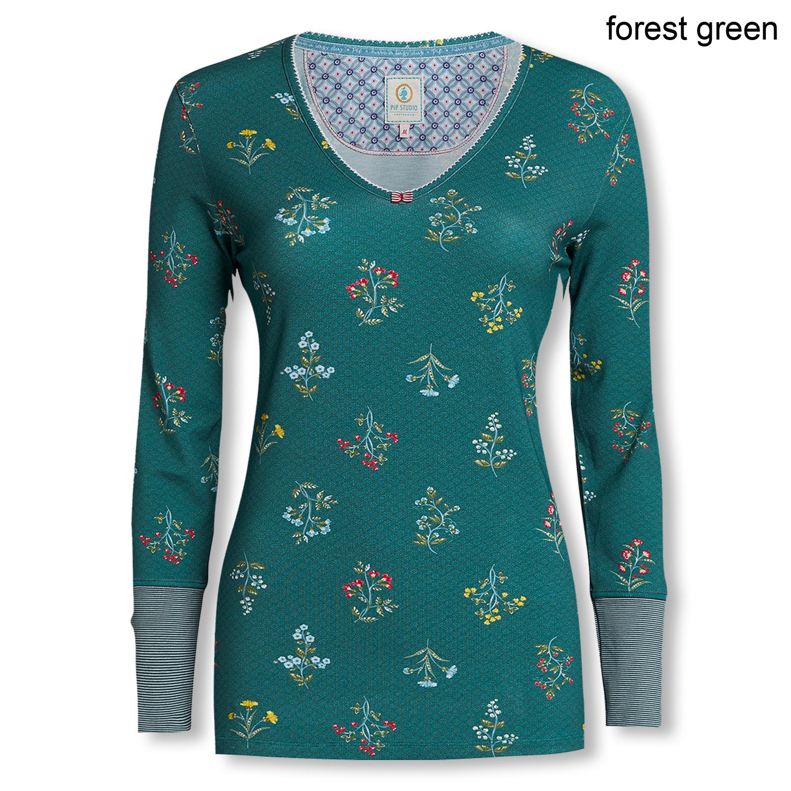 PiP Studio Damen Long Sleeve Langarmshirt Trix Winter Wonderland 260760 S M L XL in forest green