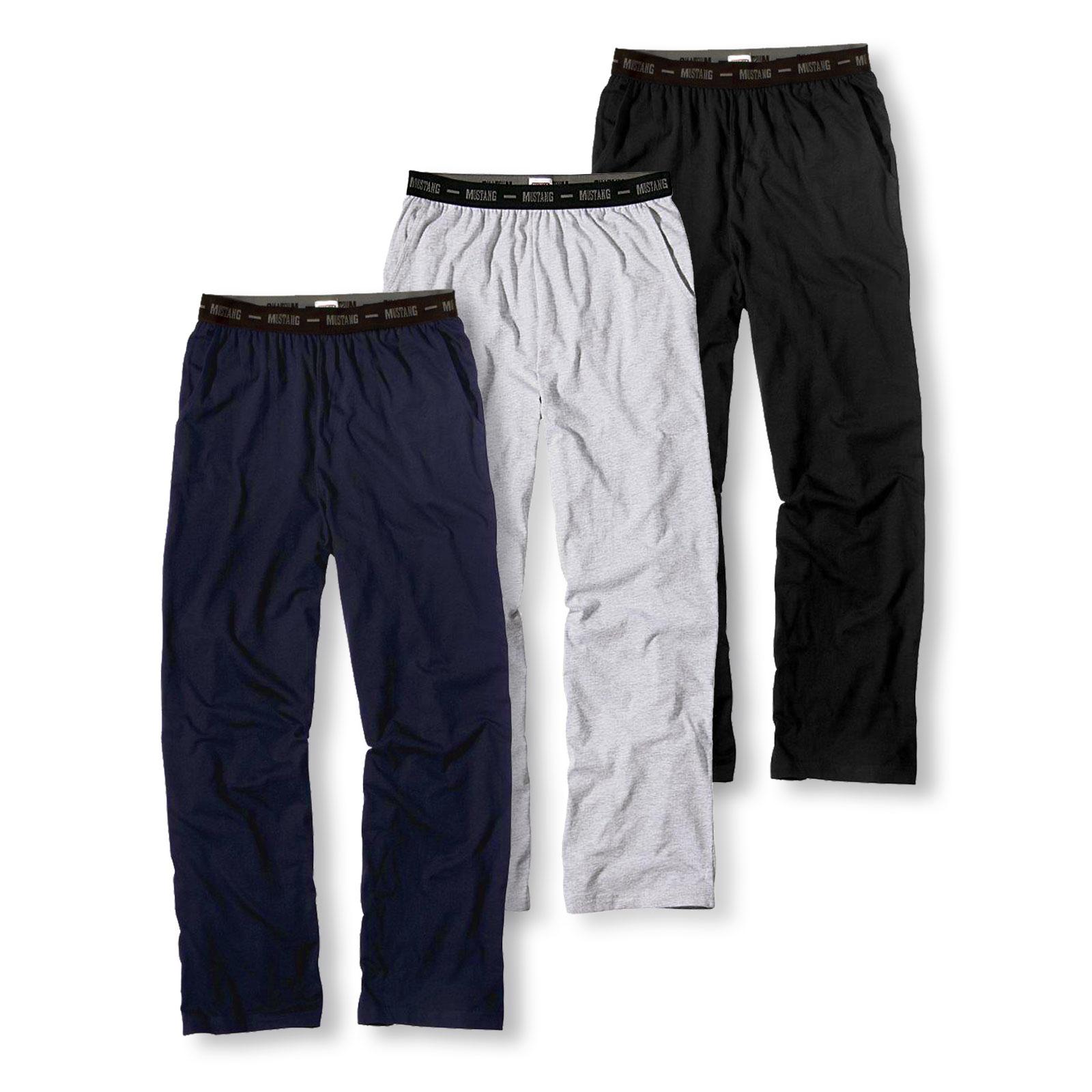Mustang Herren Pyjamahose Schlafanzughose Lounge Pant Long Pant 4112-1700 in grey melange