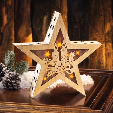 Houten kerstster met licht