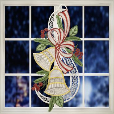 Fensterstickerei »Weihnachtliche Glocken«
