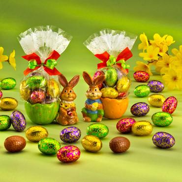 "2-dlg. set eierdopjes ""Paashaas"" met nougat eieren – Bild 1"