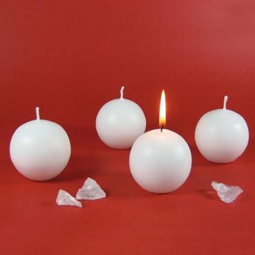 Kugel-Kerzen, weiß, 4 Stück