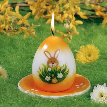 Bougie de Pâques »Lièvre« avec assiette