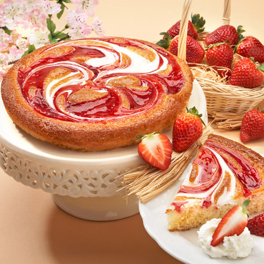 Crèmekoek met aardbeien, 400 g