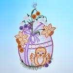 Plauener Stickerei »Osterei mit Küken«