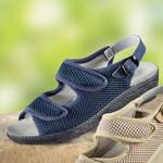 Hallux-Valgus-Sandalette mit Ledersohle, blau 001