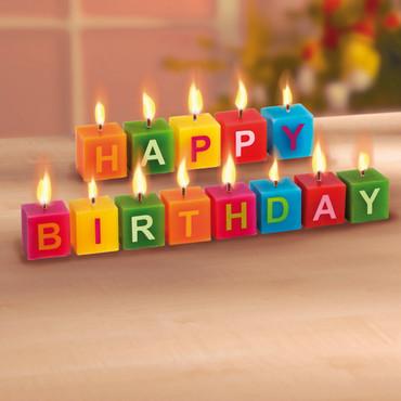 Würfel-Kerzen »Happy Birthday« – Bild 3