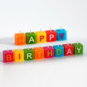Würfel-Kerzen »Happy Birthday« – Bild 1