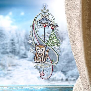 Fensterbild »Katze im Schnee«
