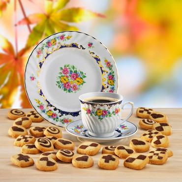 Porzellan-Gedeck »Blüten« mit Gebäck