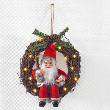 Weihnachtsmann im LED-Kranz