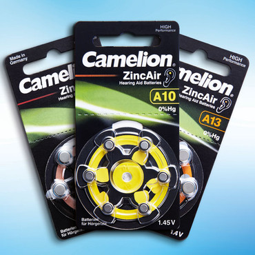 Zink-Knopfzellen für Hörgeräte, A13, 6 Stück