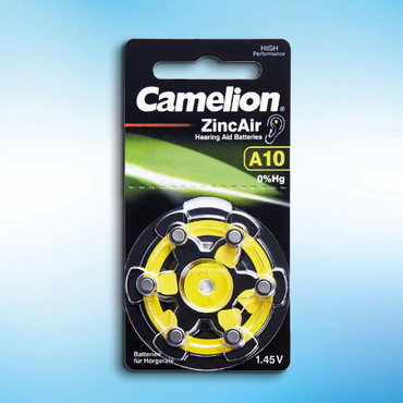 Zink-Knopfzellen für Hörgeräte, A10, 6 Stück