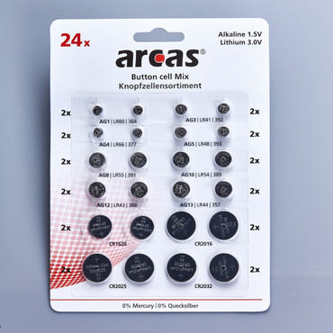 Knopfzellen-Sortiment, 24-tlg.