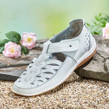 Leder-Sandalette mit Klettverschluss