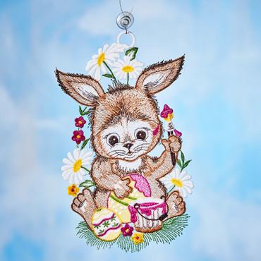 Plauener Stickerei »Hase mit Ei«