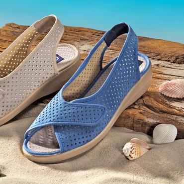 Sandalette mit Fersen-Sling und Klett, blau