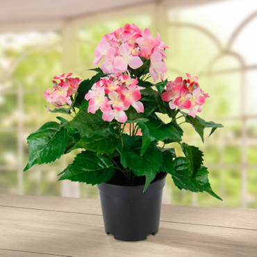 Hortensia, kunstbloemen in pot