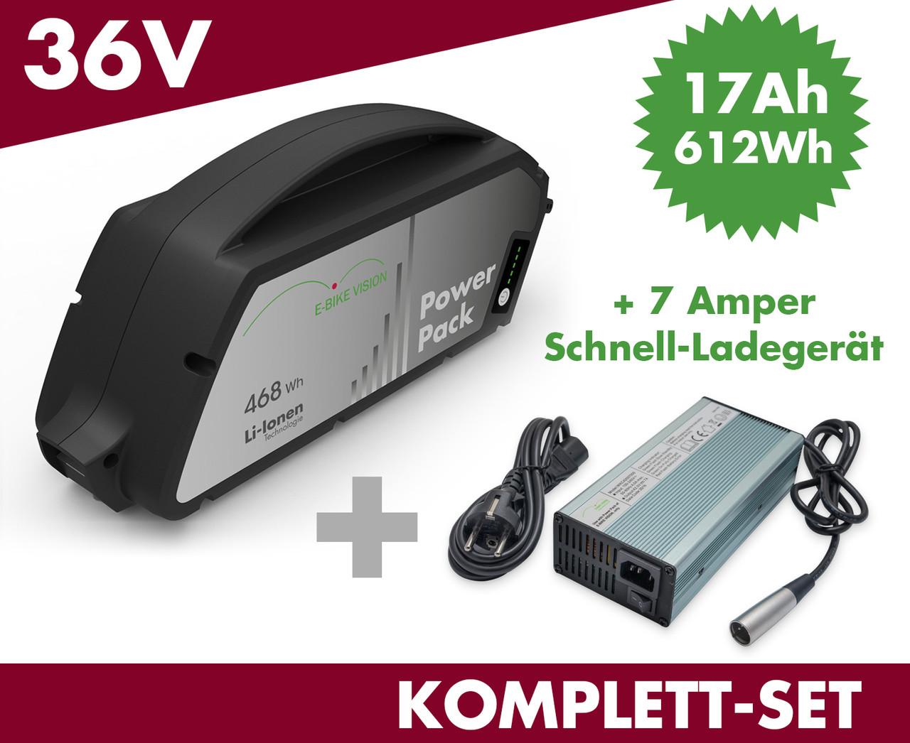 SET E-Bike Ersatzakku Power Pack 17 Ah 612 Wh 36V für Bosch Classic Unterrohr + Ladegerät – Bild 1