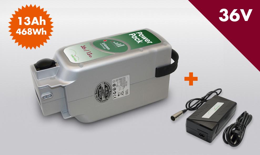 SET E-BIKE VISION Power Pack Ersatzakku Akku für Panasonic Antrieb 36V 13Ah 468 Wh inkl 4Ah Ladegerät – Bild 1