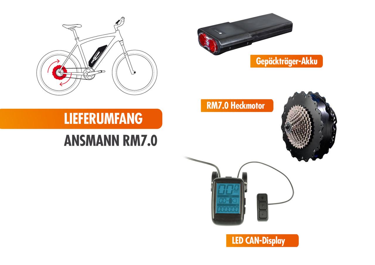 Ansmann RM7.0 E-Bike Heckmotor Umrüstung Set Pedelec Nachrüstsatz Gepäckträger Akku mit LCD Display – Bild 2
