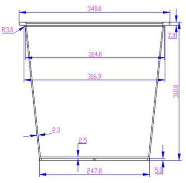 Kunststoffeinsatz quadratisch konisch 34x34x31cm schwarz mit Bewässerungssystem – Bild 8