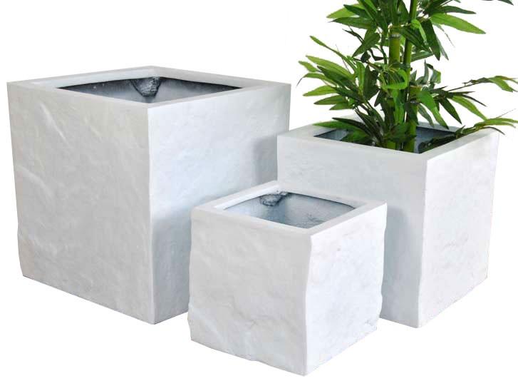 Blumenkübel Fiberglas Stein-Optik quadratisch 30x30x30cm weiß.