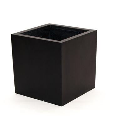 Blumenkübel Fiberglas quadratisch 40x40x40cm elegant schwarz-matt.