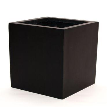 Blumenkübel Fiberglas quadratisch 50x50x50cm elegant schwarz-matt.