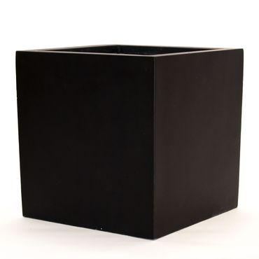 Pflanzkübel, Blumenkübel Fiberglas quadratisch 80x80x80cm elegant schwarz-matt.