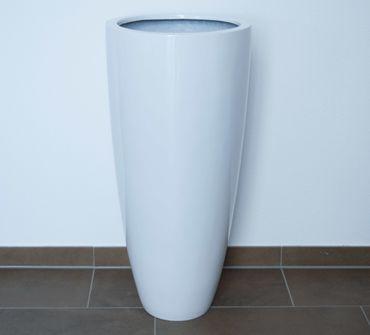Pflanzkübel Fiberglas zylindrisch D30xH25cm perlmutt weiß.