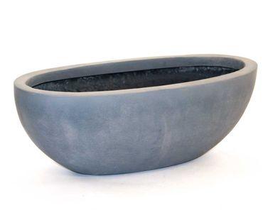 Pflanzschale Fiberglas oval 65x31xH25cm grau.
