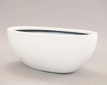 Pflanzschale Fiberglas oval 65x31xH25cm hochglanz weiß.