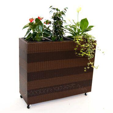 Pflanzkübel, Pflanztrog Polyrattan als Raumteiler mit Rollen 106x40x90cm coffee braun.