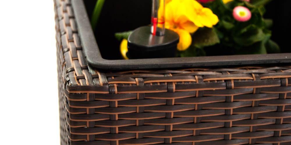 pflanzk bel pflanztrog polyrattan mit rankgitter 106x38x130cm braun. Black Bedroom Furniture Sets. Home Design Ideas