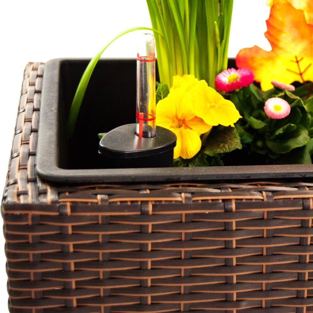 pflanzk bel pflanztrog polyrattan mit rankgitter 130x46x165cm braun. Black Bedroom Furniture Sets. Home Design Ideas