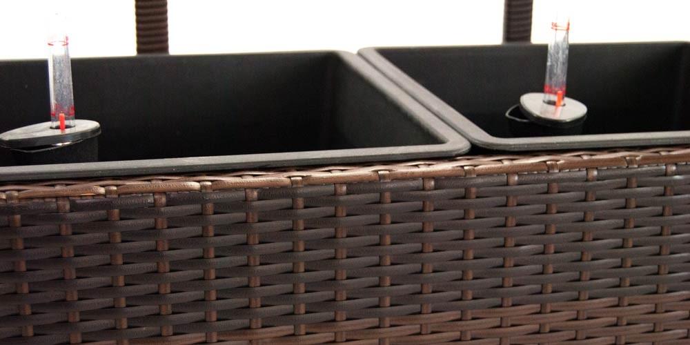 pflanzk bel pflanztrog polyrattan mit rankgitter 106x38x130cm coffee braun. Black Bedroom Furniture Sets. Home Design Ideas