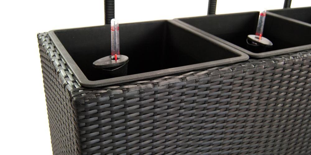 pflanzkübel, pflanztrog polyrattan mit rankgitter 82x30x100cm schwarz., Design ideen