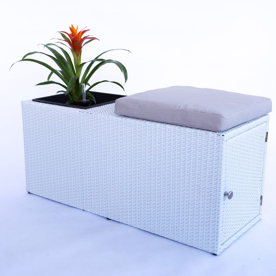 Eleganteinrichten Garten-Sitzbank aus Polyrattan weiß 100x40x45cm mit Pflanzeinsatz