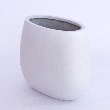 Pflanzkübel, Pflanzschale Fiberglas 62x40x50cm perlmutt weiß.