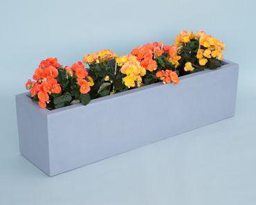 Pflanztrog Blumentrog Fiberglas 100x25x25cm grau