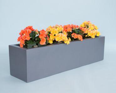 Pflanztrog Blumentrog Fiberglas 100x25x25cm anthrazit metallic