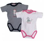 Salt and Pepper Baby Mädchen Doppelpack Body kurzarm in rosa/blau by Babyglück
