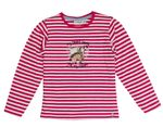 Salt and Pepper Kids Mädchen Langarmshirt, Shirt mit Pferde-Pailetten-Stickerei in raspberry