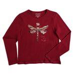 REVIEW Kids Mädchen Langarmshirt mit glitzernder Libelle in bourdeaux