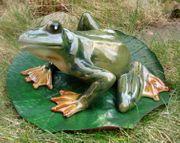 Gartenfigur Frosch 29 cm Porzellan glasiert Figur Garten  001