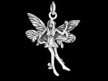 Anhänger Elfe mit Schlange 925er Silber Fairy