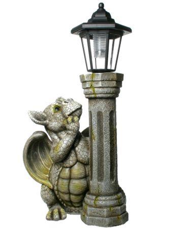 Drachenkind mit Solar Laterne Drache Figur Gargoyle Gartenfigur